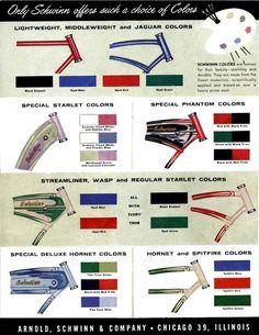 Schwinn bicycle colors in 1955