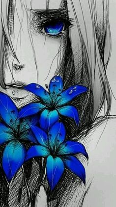 Sad anime girl with blue flowers Art And Illustration, Animal Illustrations, Character Illustration, Illustrations Posters, Manga Drawing, Manga Art, Life Drawing, Manga Anime, Wie Zeichnet Man Manga