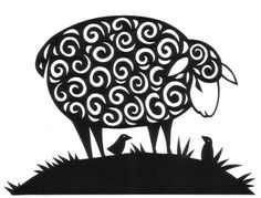 Paper Cutting | Paper cutting design of a sheep with curly fleece and two bird friends ...