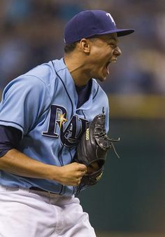 2013 ays pitcher Chris Archer lets loose as he finishes the first complete game of his career, a five-hitter.  Rays blank Astros, 5-0 which brings the Rays 2 1/2 games of the 1st place Red Sox.  (7-14-13)