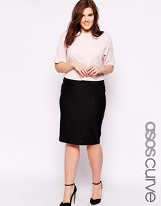 88d7b6e6650 ASOS CURVE Midi Skirt in Bandage Rib at asos.com. Plus Size ...