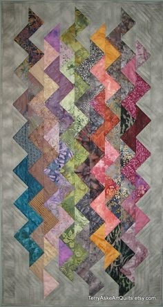 Art Quilt Wall Hanging  ZigZag RESERVED for by TerryAskeArtQuilts