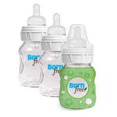 Born Free Glass Bottles 5 oz.- 3 pack with Bonus Silicone Sleeve