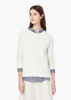 Textured cotton sweater - Cardigans and sweaters for Women | MANGO