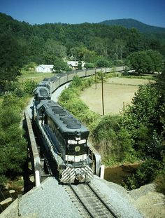 Southern Railway loaded coal train entering Old Fort, NC in 1981