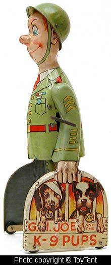 *WWII ERA TIN TOY ~ reminding us that it was a Pit bull that represented the USA. G.I. Joe and his K-9 Pups