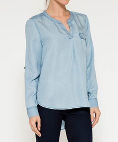 Look what I found on #zulily! Light Blue Denim Pocket Notch Neck Top #zulilyfinds