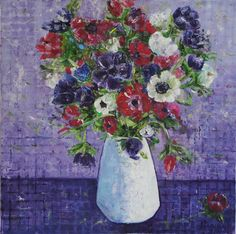 Original Oil painting 'Anemones in Vase 50 x 50 by NarimCrafts