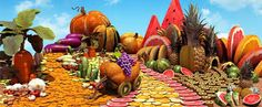 What is your favourite fruit ? Fruit And Veg, Fruits And Vegetables, Carl Warner, Juice Plus, Food Art, Landscape Design, Pumpkin, Carving, Artist