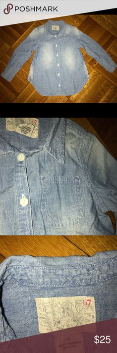 Girls Ralph Lauren denim button up. Size 5! The shirt is on perfect condition and there aren't any hidden flaws. It is exactly as seen in the photos I've provided.   Style tip: Denim on denim.  Bonus; Pairs nicely with the girls Ralph Lauren jeans paint In my closet. Ralph Lauren Shirts & Tops Button Down Shirts