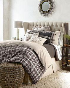 """I like the bed.     614A NM EXCLUSIVE King Rawlins Plaid Duvet Cover, 114"""" x 98"""" Queen Rawlins Plaid Duvet Cover, 96"""" x 98"""" King Cascade Herringbone Coverlet, 104"""" x 98"""""""