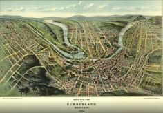 """Bird/'s Eye View of Cumberland MD 1906 Vintage Map Poster 11 x 17/"""" Reprint"""