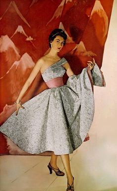 1954 Dovima in bead embroidered formal by Frank Perullo