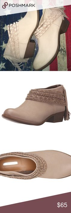 BCBGeneration Craftee $118.00 Celebrate your boho-chic style with the undeniably stylish Craftee mule this season. New no box  Leather upper features braided polyurethane straps that wrap ankle. Tassels complement the rear zipper. Plain round toe. Lining and insole made with synthetic materials. Stacked block heel. Man-made sole. Imported. Product measurements were taken using size 7.5, width M. Please note that measurements may vary by size. Measurements: Heel Height: 1 1⁄4 in Weight: 10 oz…