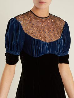 EMILIA WICKSTEAD Kirsten Embroidered Lace Velvet Black Dress 6