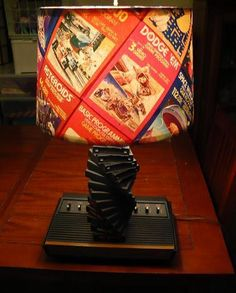 Lamp from Atari console, games, and game boxes!    NERD LOVE!