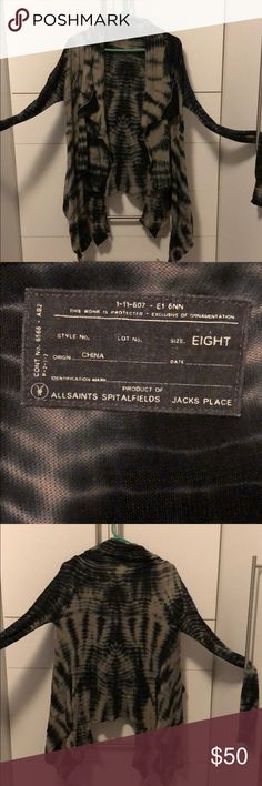 """Allsaints wrap tie dye cardigan (Hersila) Allsaints """"hersila"""" wrap tie dye wrap cardigan—Rick owners vibe. Draped front panels. Size 8 (UK?). I'm a size 4 and it fits me fine but also fits my mom (a size 8). Very versatile fit! All Saints Sweaters Cardigans"""