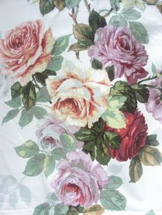 Vintage Sanderson Cabbage Roses cushion fabric~curtain Shabby cottage curtain