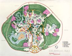Created in the 1980s, this is the first site map envisioned by WDI Imagineers for Disneyland Paris.