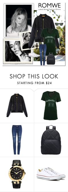 """""""ROMWE"""" by aceboss ❤ liked on Polyvore featuring Versace, Converse and Ray-Ban"""