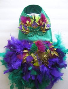 Mardi Gras Feather Harness Dog Dress by KOCouture on Etsy