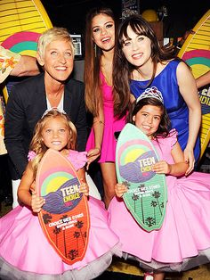 Selena Gomez, Zooey Deschanel, Ellen Degeneres, and Sophia Grace & Rosie at TCA 2012