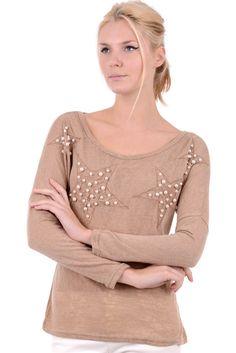 Round Neck Beaded Star Sweater