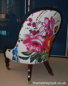 Check out the stunning fabric on the back of this Victorian nursing chair!