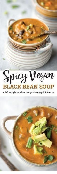SOUP RECIPES   Spicy Vegan Black Bean Soup   TULUL Healthy Diet Recipes, Healthy Soup, Vegetarian Recipes, Healthy Eating, Paleo Diet, Mexican Recipes, Indian Recipes, Vegan Black Bean Recipes, Vegetarian Lunch