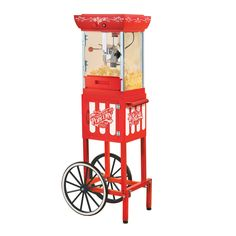 Nostalgia Electrics CCP399 Vintage Collection Old Fashioned Movie Time Popcorn Cart - 082677136060