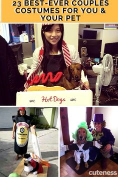 23 Best-Ever Couples Costumes For You & Your Pet Halloween Cans, Group Halloween Costumes, Halloween Season, Halloween Ideas, Horse Hay, Horses, Group Of Dogs, Cute Dog Pictures, Funny Costumes