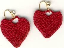 Tiny heart earrings - hook size 12, any size thread.  . . . .   ღTrish W ~ http://www.pinterest.com/trishw/  . . . .    #crochet #motif #jewelry