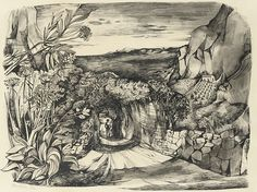 'The Lane' by John Minton, 1946 (ink and wash) Collage Illustration, Landscape Illustration, Illustrations, John Minton, Romanticism Artists, Art Through The Ages, Apple Art, Royal College Of Art, Vintage Artwork