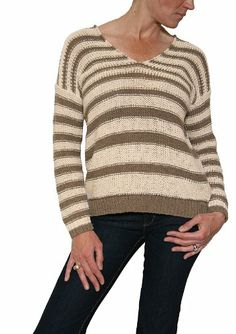 $112.50 cool Women's Vince Double V-Neck L/S Cashmere Sweater in Buttermilk/Taupe