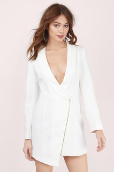 Run the show in the Miss Bossy Dress. This mini dress has a jacket look with lapels, long sleeves and an asymmetrical zip-front closure. Pair it with anke strap heels and some sass.. Get 50% off your order when you join Tobi.com