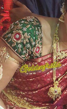 Bridal maggam work blouses....@Goldenfrills Simple Blouse Designs, Fancy Blouse Designs, Magam Work Blouses, Mirror Work Blouse, Wedding Saree Blouse Designs, Maggam Work Designs, Fashion Looks, Trendy Fashion, Sarees