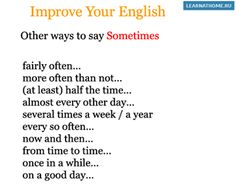 Other ways to say Sometimes #vocabulary #english