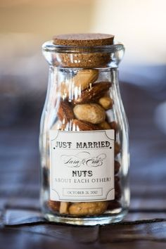 Assorted Nuts Favors ina cute glass jar.