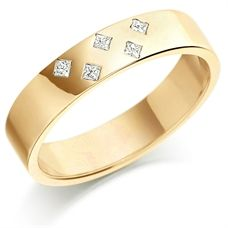 House of Williams 9ct Yellow Gold Ladies 4mm Wedding Ring Set with 5 Princess Cut Diamonds in a Diamond Pattern, Total Weight 7pts