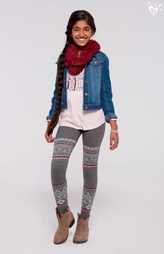 A denim jacket with perfect leggings and a bright eternity scarf is our go-to for cool weather style.