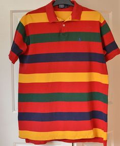 Vtg Polo Ralph Lauren Men's L Short Sleeve Polo Shirt USA Red Blue Green Gold   Clothing, Shoes & Accessories, Men's Clothing, Casual Shirts   eBay!
