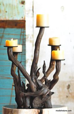 With their organic shapes and intriguing coloration, Roost Dark Driftwood Candelabra can easily be the talk of any party. Pieces of hand-selected dark driftwood are s