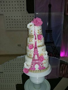 Paris Quinceañera Cake  on Cake Central
