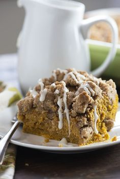 This pumpkin coffee cake is super moist and dense, kind of like a pumpkin pie. The huge streusel topping is so good, too! This pumpkin coffee cake is super moist and dense, kind of like a pumpkin pie. The huge streusel topping is so good, too! The Best Pumpkin Cake Recipe, Pumpkin Cake Recipes, Pumpkin Coffee Cakes, Pumpkin Dessert, Pumpkin Breakfast, Coffe Cake, Coffee Cupcakes, Just Desserts, Dessert Recipes
