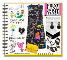 """Dolce & Gabanna Illustration Dress"" by affton ❤ liked on Polyvore"