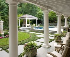 Marvelous Flagstone Pavers  vogue Dc Metro Traditional Landscape Image Ideas with  columns formal fountain garden landscaping loggia metal roof outdoor armchairs outdoor dining outdoor fireplace