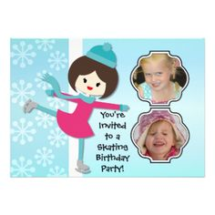 Having a birthday skating party? You'll love these cute and colorful winter skating theme Brunette Girl Birthday Skating Party invitations that you can easily add photos and your birthday party specifics to! Features a brown haired ice skating girl on a soft blue background with white snowflakes! #skating #skater #photos #skates #winter #birthday #customized #parties #kids #girls #custom #peacockcards #personalized #childrens