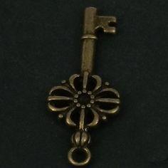 Retro bronze jewelry flower key charm pendant 20pcs by jewelrygo, $7.99