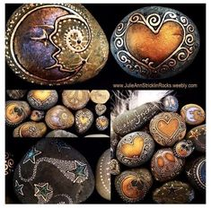I love the metallic touch! Meditation Rocks-Natural Rocks and Stones Embellished by Artist Julie Ann Stricklin Pebble Painting, Dot Painting, Pebble Art, Stone Painting, Shell Painting, Stone Crafts, Rock Crafts, Arts And Crafts, Pierre Decorative
