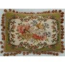 Aubusson Floral Pillow with Moss Green Border